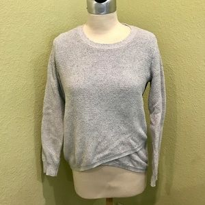 MADEWELL Waffle Knit Crossover Sweater Grey Green